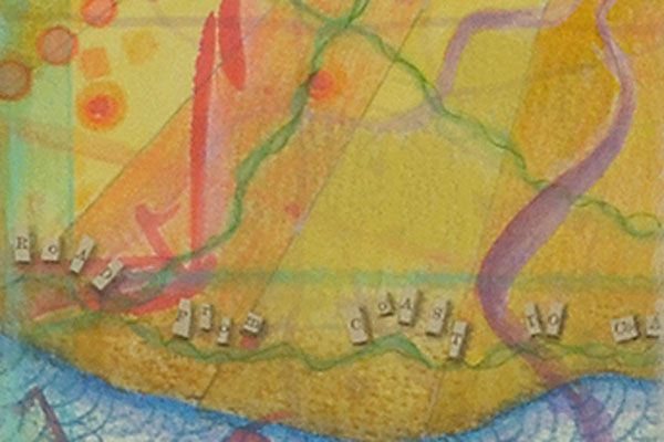 """""""Let us do our best, even if it gets us nowhere."""", detail, watercolor, drawing, collage by Kathleen O'Brien"""