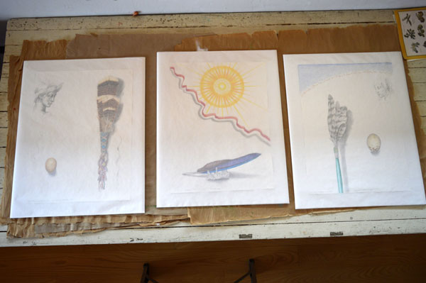 """Drawings by Kathleen O'Brien for UK Healthcare , getting wrapped up, """"Turkey Feather Fan"""", """"Sun Worship""""""""Hawk Prayer Stick"""","""