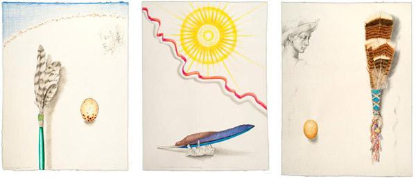 "Drawings by Kathleen O'Brien for UK Healthcare, ""Hawk Prayer Stick"", ""Sun Worship"", ""Turkey Feather Fan"""