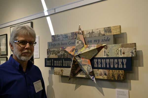 """Renowned collage artist, John Andrew Dixon with his """"I Must Have Kentucky"""" at """"225: Artists Celebrate Kentucky's History"""" reception: photo, Greg Orth"""