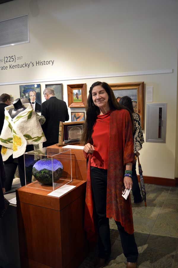 "Renowned bead artist, Linda Fifield with her ""Hills of Home"" at ""225: Artists Celebrate Kentucky's History"" reception: photo, Greg Orth"