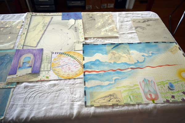 """""""Twelve and One, Atlas of the Year"""", details of mixed media collages, 22x15, and drawings by Kathleen O'Brien"""