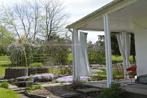 East gardens from the north porch at Sunwise Farm and Sanctuary