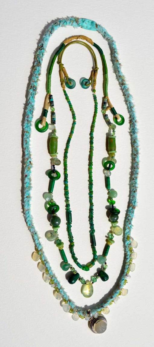 Healing Necklaces 7 and 8 with ancient green Roman bead necklace by Kathleen O'Brien