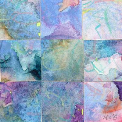 """09 Paintings 02"", watercolor collage, 3x3"" by Kathleen O'Brien"