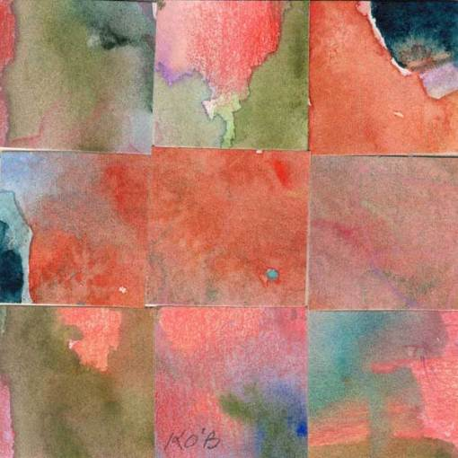 """09 Paintings 03"", watercolor collage, 3x3"" by Kathleen O'Brien"