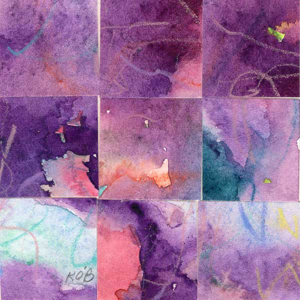 """09 Paintings 11"", watercolor collage, 3x3"" by Kathleen O'Brien"