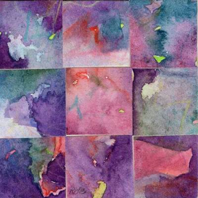 """09 Paintings 13"", watercolor collage, 3x3"" by Kathleen O'Brien"