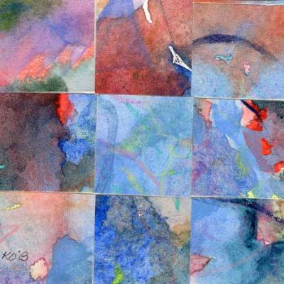 """""""09 Paintings 14"""", watercolor collage, 3x3"""" by Kathleen O'Brien"""
