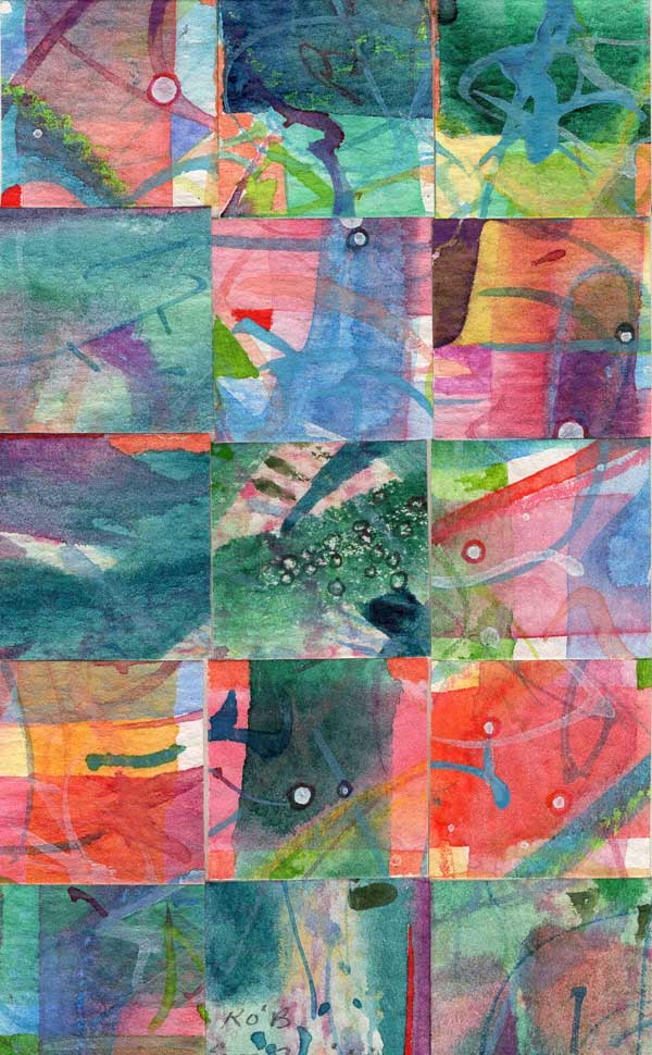 """""""15 Paintings 03"""", watercolor collage,5x3"""" by Kathleen O'Brien"""