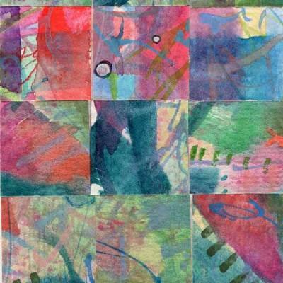"""""""15 Paintings 04"""", watercolor collage,5x3"""" by Kathleen O'Brien"""