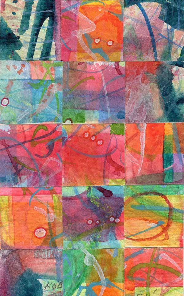 """""""15 Paintings 05"""", watercolor collage,5x3"""" by Kathleen O'Brien"""