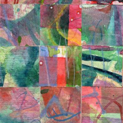 """15 Paintings 06"", watercolor collage,5x3"" by Kathleen O'Brien"