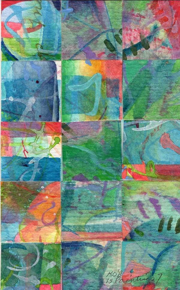 """""""15 Paintings 07"""", watercolor collage,5x3"""" by Kathleen O'Brien"""