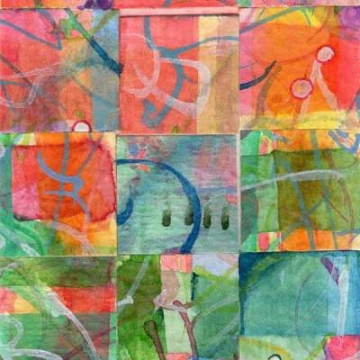"""""""15 Paintings 08"""", watercolor collage,5x3"""" by Kathleen O'Brien"""