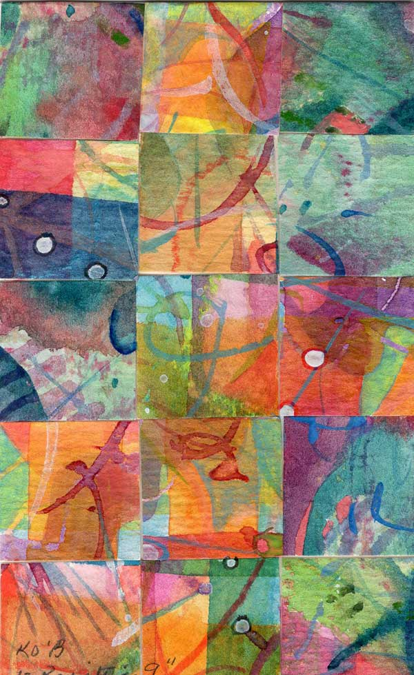 """""""15 Paintings 09"""", watercolor collage,5x3"""" by Kathleen O'Brien"""