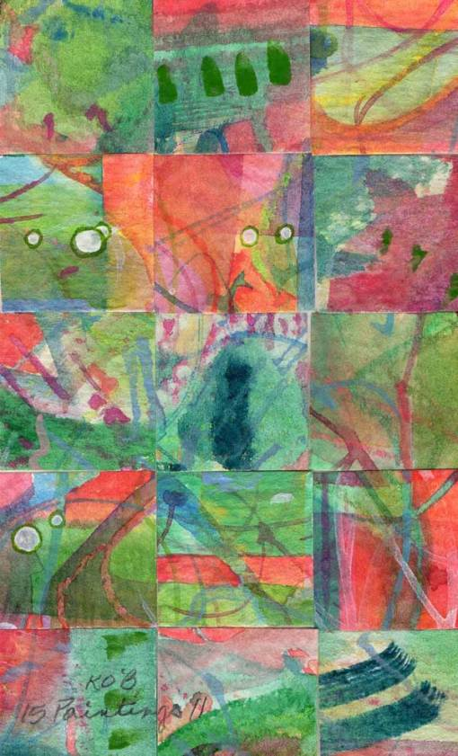 """""""15 Paintings 11"""", watercolor collage,5x3"""" by Kathleen O'Brien"""