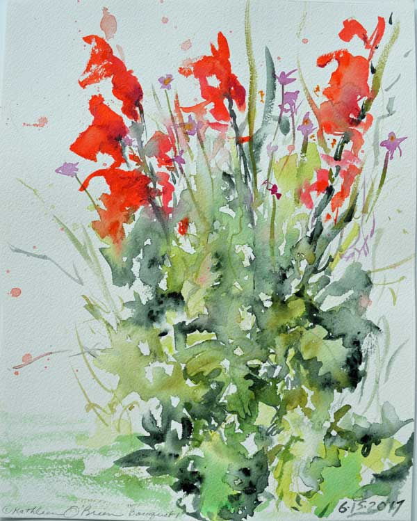 """Bouquet 01"", watercolor by Kathleen O'Brien, 12x9"""