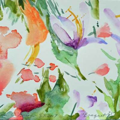 """Bouquet 21"", watercolor by Kathleen O'Brien, 4.5x6"""