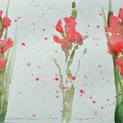"""Bouquet 03"", watercolor by Kathleen O'Brien, 9x12"""