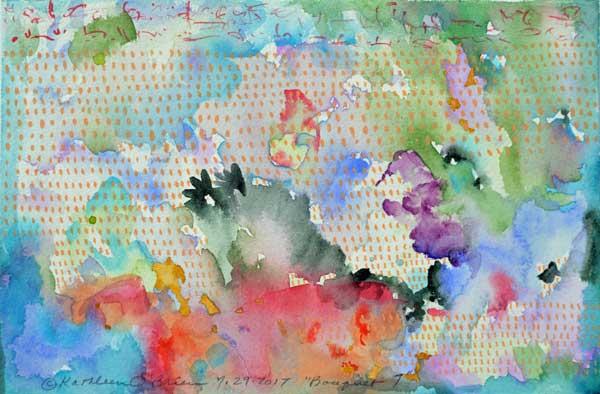 """Bouquet 07"", watercolor by Kathleen O'Brien, 6x9"""