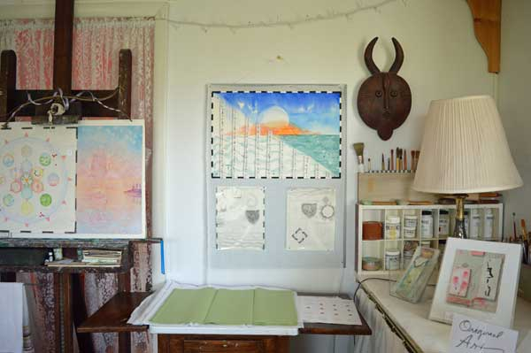 """7 , Autumn/West Atlas of the Year"", 22x15"", and drawings at ARTTOUR display by Kathleen O'Brien"