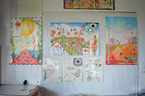 'Altlas of the Year, Summer-South collages with drawings for ARTTOUR display in Kathleen O'Brien Studio