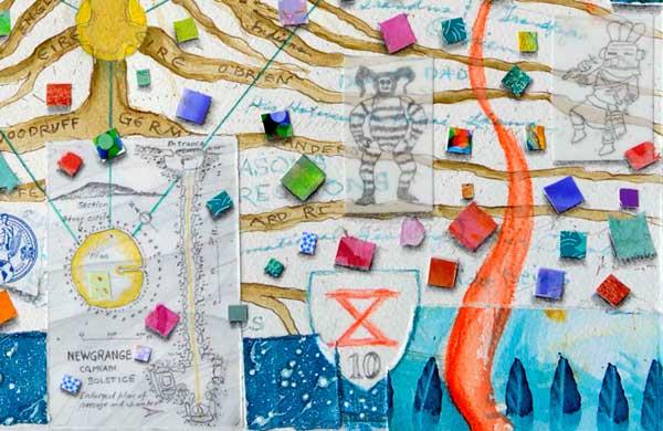 "Detail of ""Ten, Atlas of the Year"" by Kathleen O'Brien showing Newgrange and Kachinas"