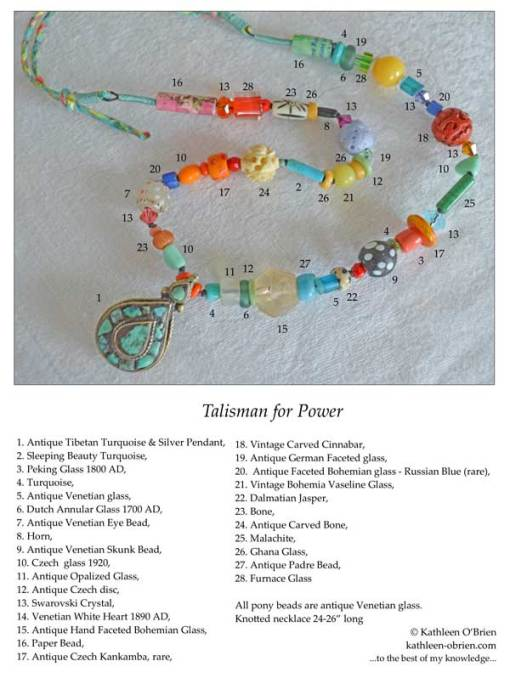 Talisman for Power, ID Tag, necklace with antique Tibetan Turquoise by Kathleen O'Brien