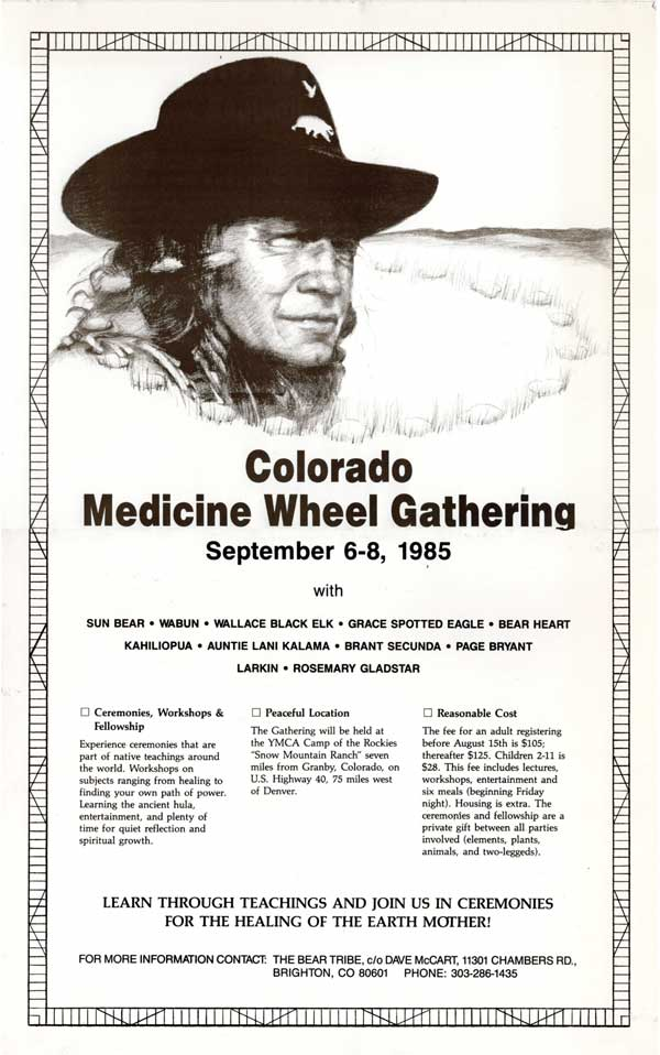 Medicine Wheel Gathering with Sun Bear, 1984, flier with drawings by Kathleen O'Brien