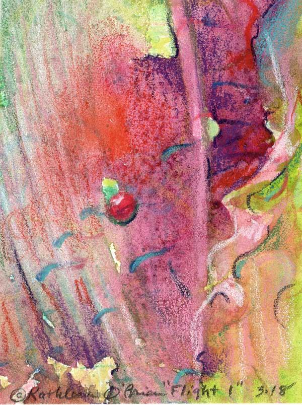 "© Kathleen O'Brien,""Flight 1"", watercolor, 4x3"""