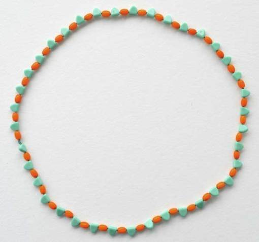 """© Kathleen O'Brien, Talisman for Balance, knotted necklace, 27"""", 1920's glass beads"""