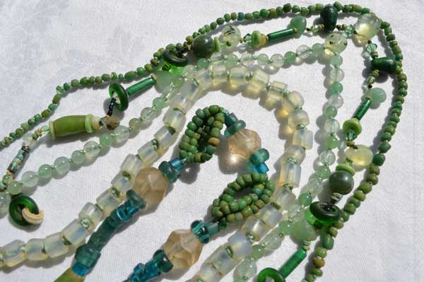 © Kathleen O'Brien, ancient green beads, antique opalized glass and stone necklaces