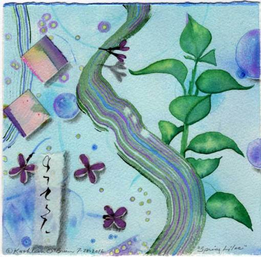 "© Kathleen O'Brien, ""4 Seasons-Spring, Lilac"", watercolor, drawing, collage, 8x8"""