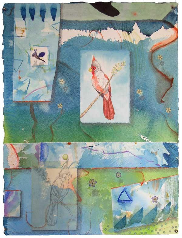 "© Kathleen O'Brien, ""Bird Bliss, Pyrrhuloxia"", watercolor, drawing, collage, 15x11"""