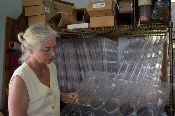 Jennifer Gleason with soap molds in the Soapmaking area in the Sunflower Sundries Market Shop