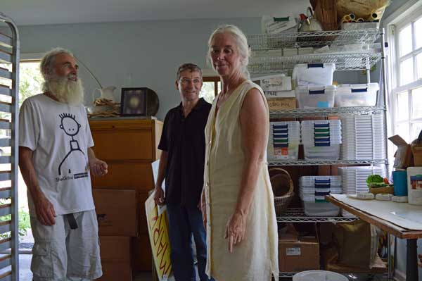 Jim Lally, Greg Orth and Jennifer Gleason in the Sunflower Sundries Market Shop office