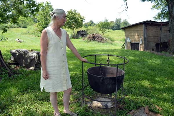 Jennifer Gleasonwith the antique tallow rendering kettle