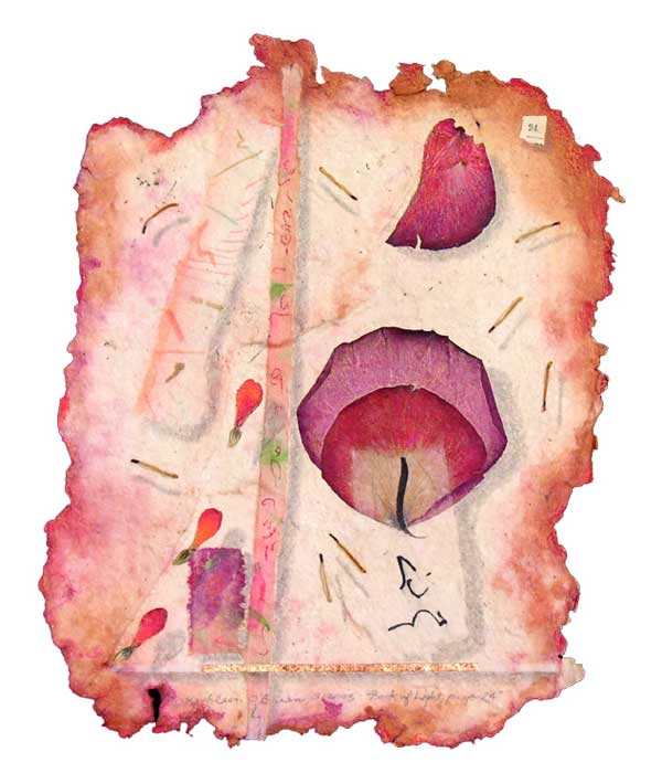 """© Kathleen O'Brien, """"Book of Light, page 24"""", watercolor, drawing, rose petals, collage, 2002"""