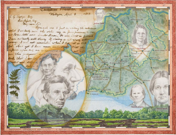 "© Kathleen O'Brien, ""Abraham Lincoln's Kentucky"", Giclee print of watercolor, drawing, collage, 2008"