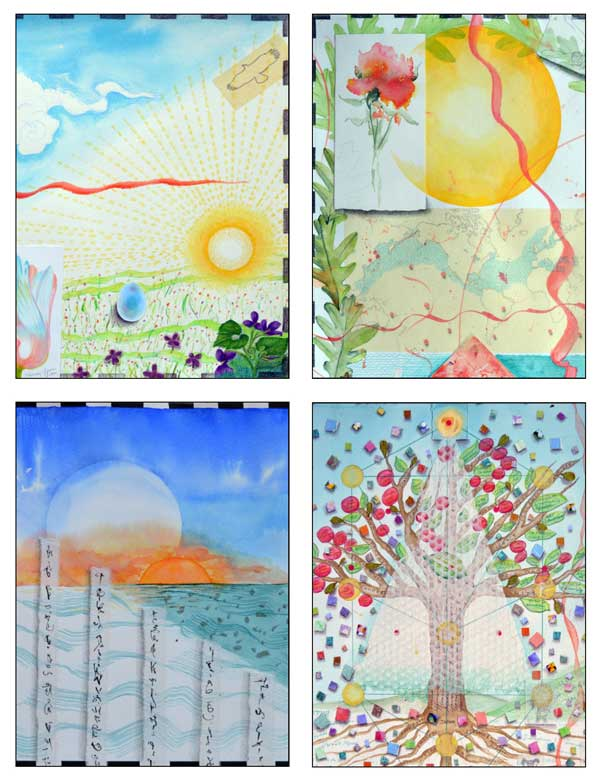 Atlas Card Set1-© Kathleen O'Brien, details from Atlas 1 Aries-Spring, 4 Cancer-Summer, 7 Libra-Autumn, and 10 Capricorn-Winter