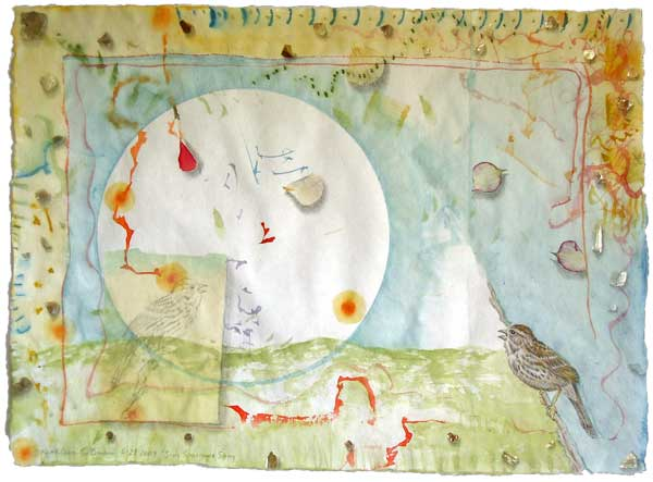 "© Kathleen O'Brien, ""Song Sparrow Song"", watercolor, drawing, petals, collage, 2009"