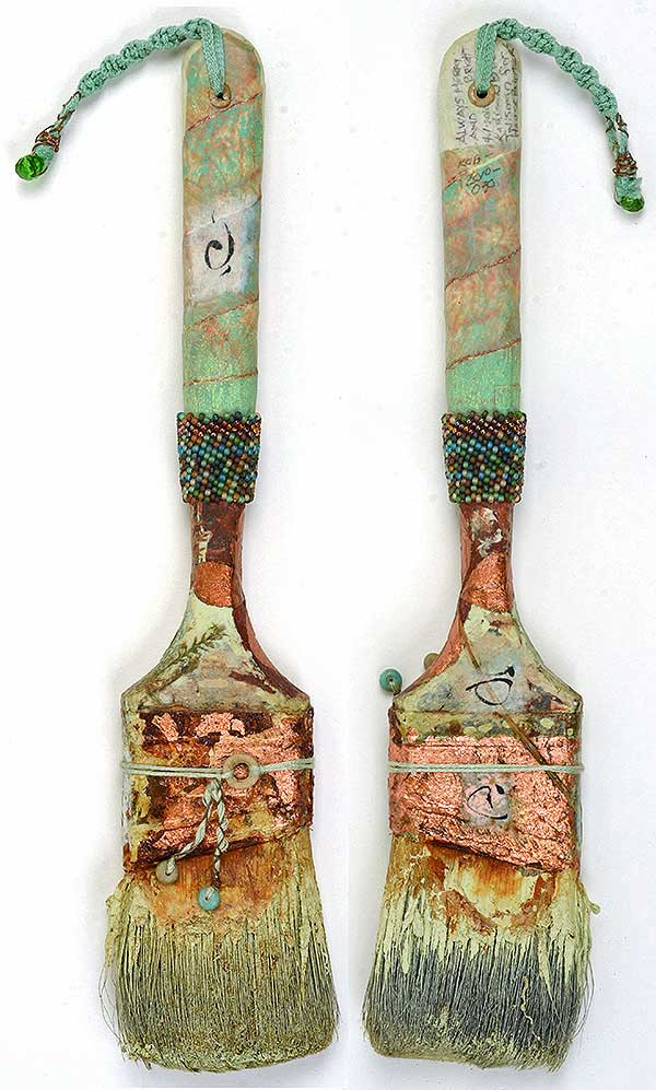 "© Kathleen O'Brien, ""Talisman for Painters"", brush, copper leaf, beadwork, acrylic, collage, 2009"