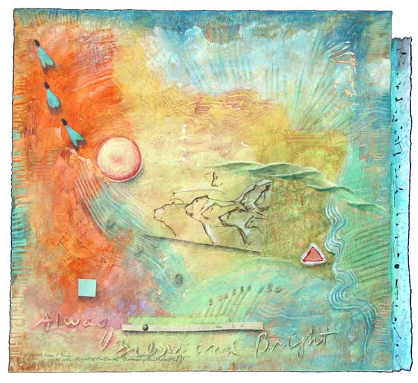 """© Kathleen O'Brien, """"1 Light of the Earth, Primary Arithmatic"""", watercolor, drawing, petals, mica, collage, 2012, private collection"""