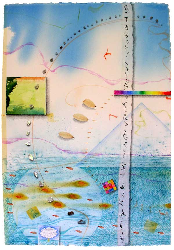 """© Kathleen O'Brien, """"Realm of Water"""", watercolor, drawing, petals, mica, collage, 2012, private collection"""