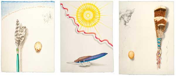 "© Kathleen O'Brien, ""Hawk Prayer Stick, Sun Worship and Turkey Fan"", drawings, 2014, purchase by UK Healthcare"