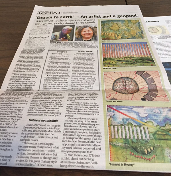 """""""Drawn to the Earth"""" feature article in Advocate Messenger, Bobbie Curd, 2016"""