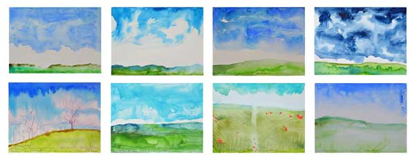 © Kathleen O'Brien, 8 Clouds and Hills, watercolor