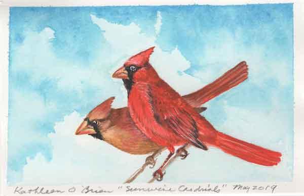 "© Kathleen O'Brien, ""Sunwise Cardinals"", gouache, 2019"