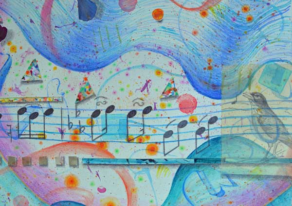 © Kathleen O'Brien, Birthday Party with Red Winged Blackbird Symphony & Robin Solo, detail of watercolor, drawing collage